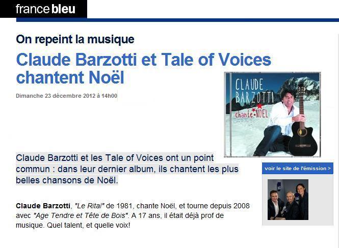 Blog de barzotti83 : Rikounet 83, On repeint la musique France Bleu Claude Barzotti dimanche 23 decembre 14H